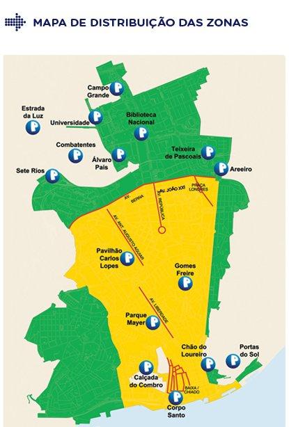 Mapa aparcamiento Lisboa